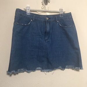 H & M Denim Jean Fringe End Skirt